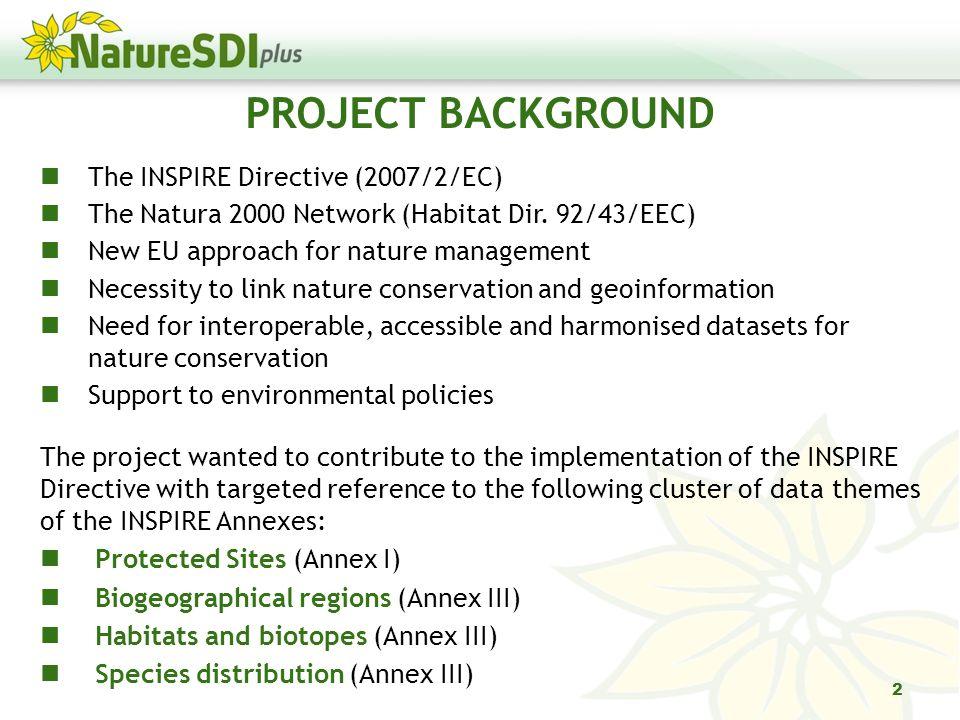 The INSPIRE Directive (2007/2/EC) The Natura 2000 Network (Habitat Dir.