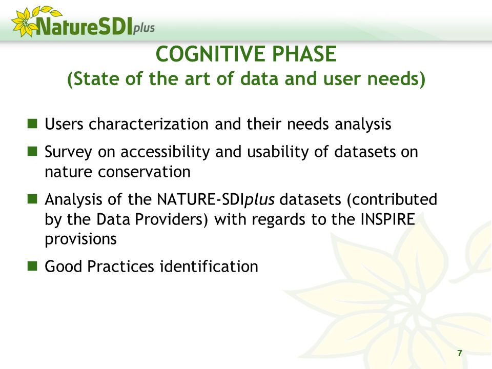COGNITIVE PHASE (State of the art of data and user needs) Users characterization and their needs analysis Survey on accessibility and usability of datasets on nature conservation Analysis of the NATURE-SDIplus datasets (contributed by the Data Providers) with regards to the INSPIRE provisions Good Practices identification 7