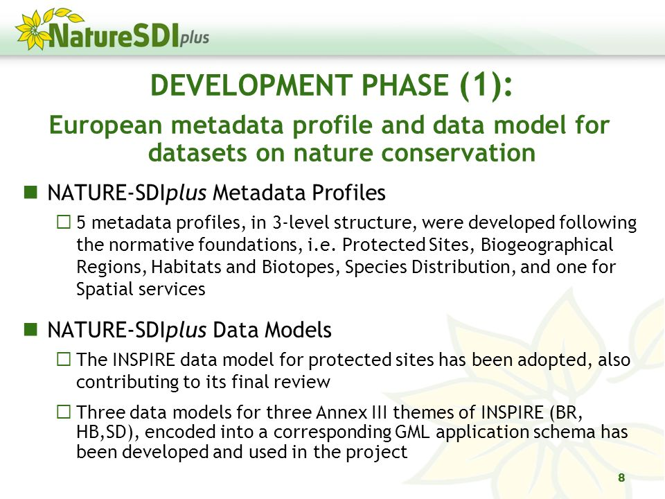 DEVELOPMENT PHASE (1): European metadata profile and data model for datasets on nature conservation NATURE-SDIplus Metadata Profiles 5 metadata profiles, in 3-level structure, were developed following the normative foundations, i.e.