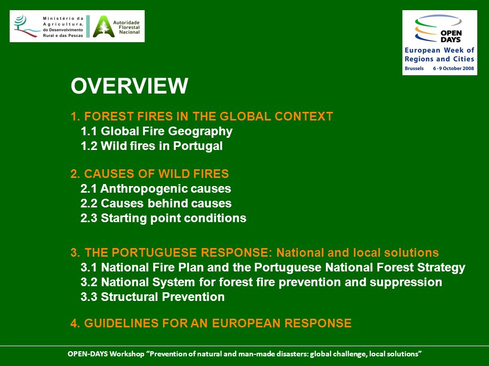 OPEN-DAYS Workshop Prevention of natural and man-made disasters: global challenge, local solutions 3.
