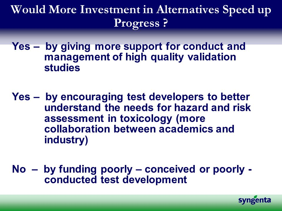 Would More Investment in Alternatives Speed up Progress .