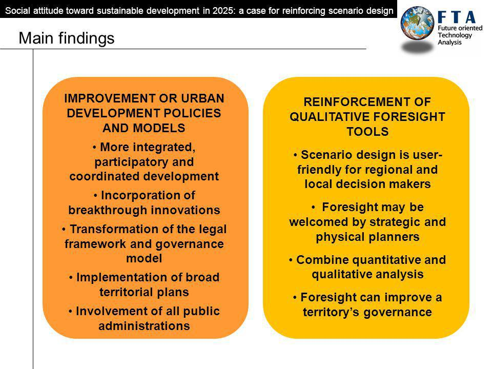 Main findings Social attitude toward sustainable development in 2025: a case for reinforcing scenario design IMPROVEMENT OR URBAN DEVELOPMENT POLICIES