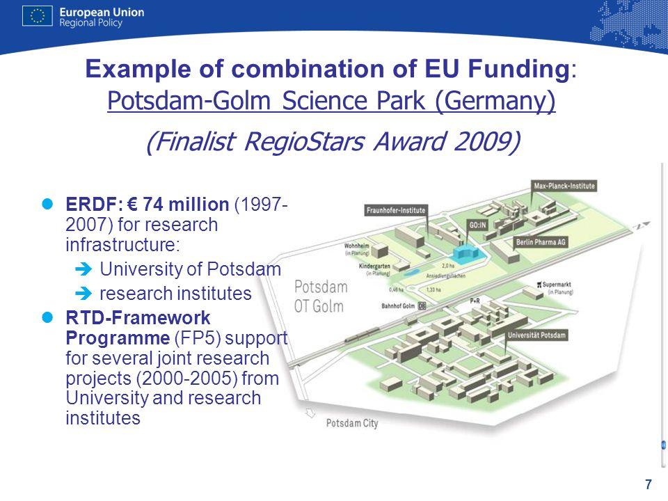 7 Example of combination of EU Funding: Potsdam-Golm Science Park (Germany) (Finalist RegioStars Award 2009) lERDF: 74 million (1997- 2007) for resear