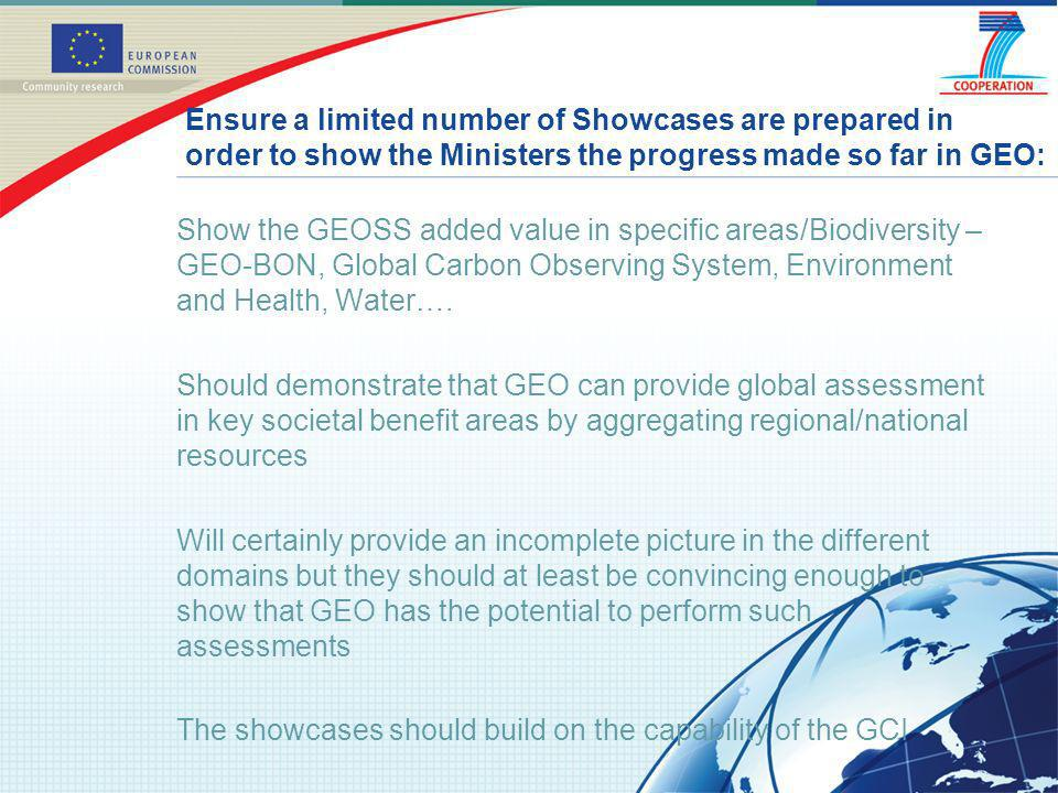 Show the GEOSS added value in specific areas/Biodiversity – GEO-BON, Global Carbon Observing System, Environment and Health, Water…. Should demonstrat