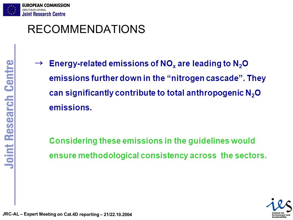 JRC-AL – Expert Meeting on Cat.4D reporting – 21/22.10.2004 RECOMMENDATIONS Energy-related emissions of NO x are leading to N 2 O emissions further do