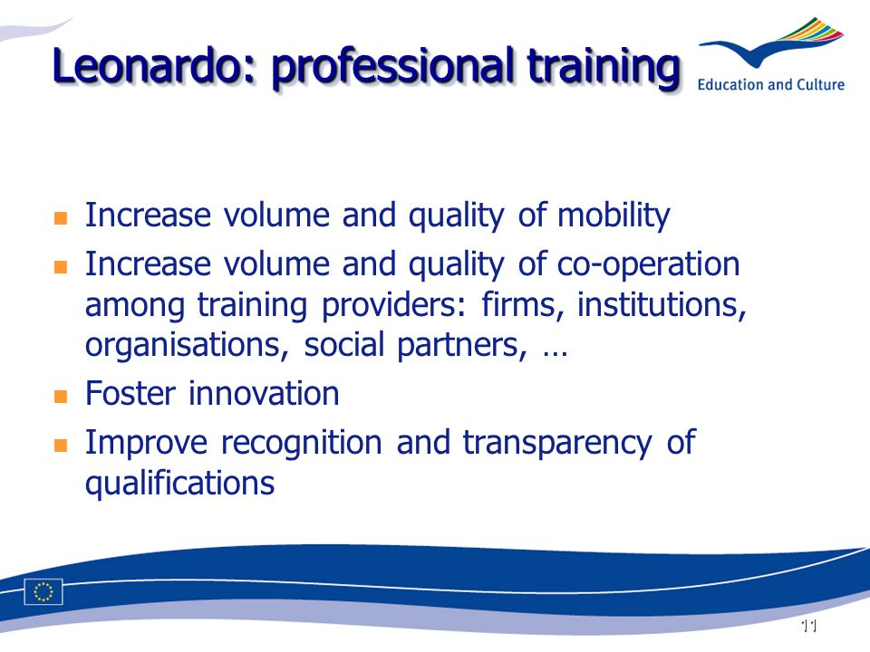 11 Leonardo: professional training Increase volume and quality of mobility Increase volume and quality of co-operation among training providers: firms, institutions, organisations, social partners, … Foster innovation Improve recognition and transparency of qualifications