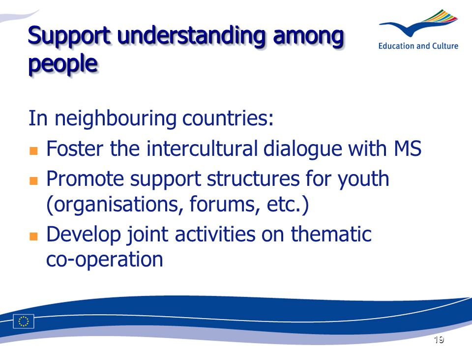 19 Support understanding among people In neighbouring countries: Foster the intercultural dialogue with MS Promote support structures for youth (organisations, forums, etc.) Develop joint activities on thematic co-operation