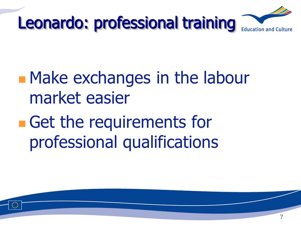 7 Leonardo: professional training Make exchanges in the labour market easier Get the requirements for professional qualifications