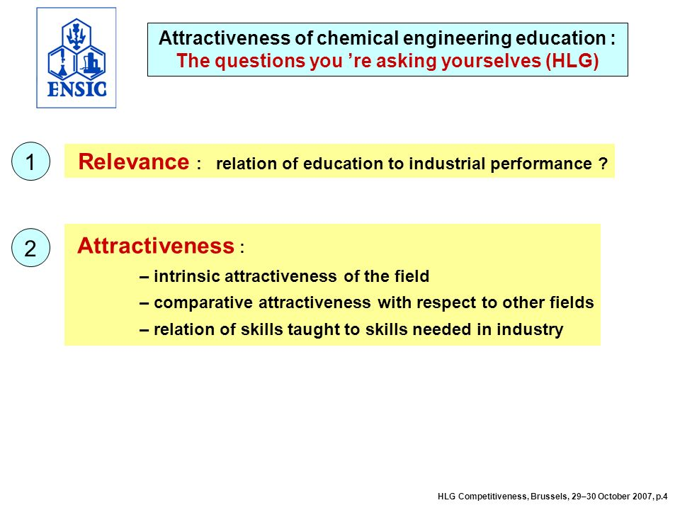Attractiveness of chemical engineering education : The questions you re asking yourselves (HLG) Relevance : relation of education to industrial performance .