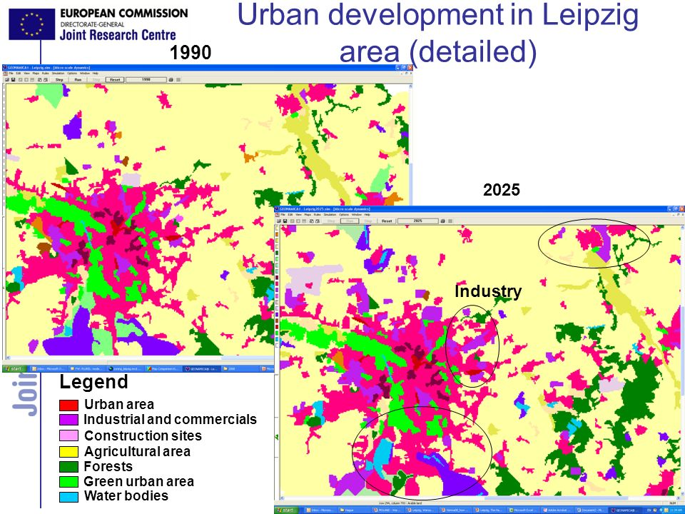 Land Management Unit Urban development in Leipzig area (detailed) Urban area Agricultural area Forests Green urban area Construction sites Legend 1990 Industrial and commercials Water bodies 2025 Industry