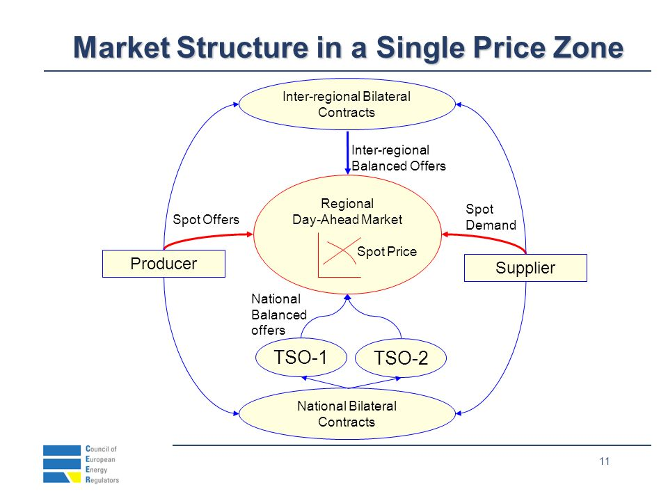 11 Market Structure in a Single Price Zone Producer Supplier TSO-1 Regional Day-Ahead Market Inter-regional Bilateral Contracts Spot Offers Spot Deman