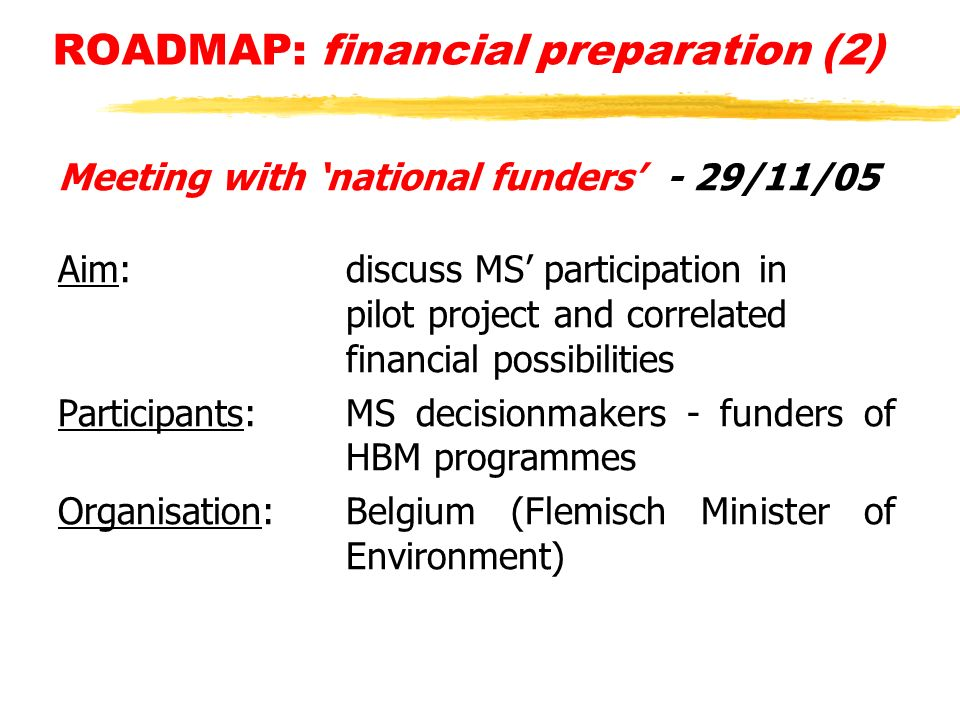 ROADMAP: financial preparation (2) Meeting with national funders - 29/11/05 Aim: discuss MS participation in pilot project and correlated financial possibilities Participants: MS decisionmakers - funders of HBM programmes Organisation: Belgium (Flemisch Minister of Environment)