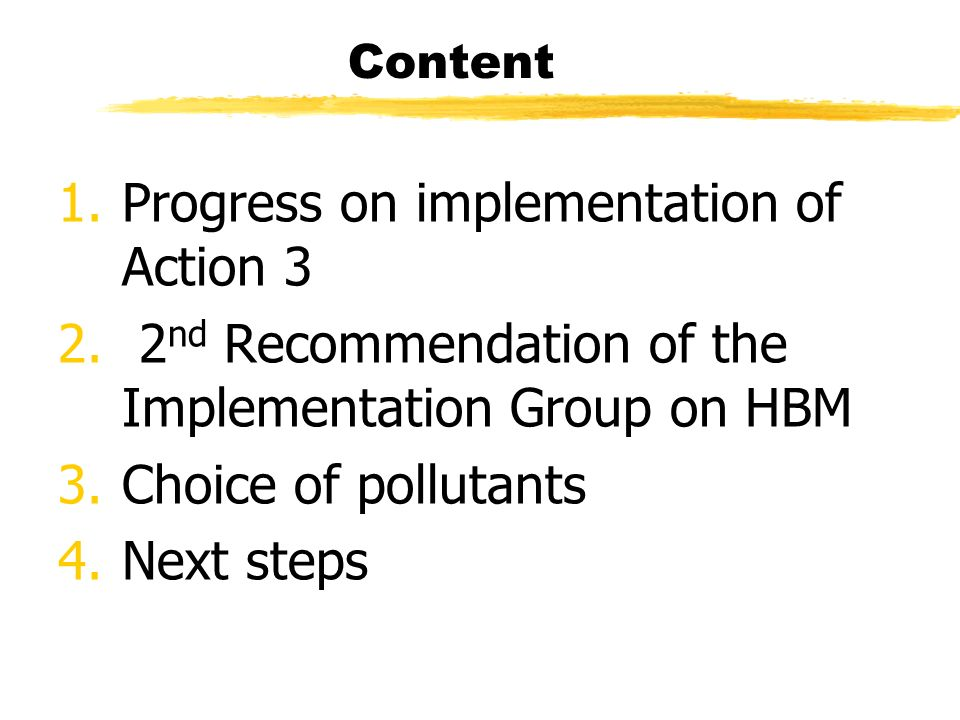 Content 1.Progress on implementation of Action 3 2.