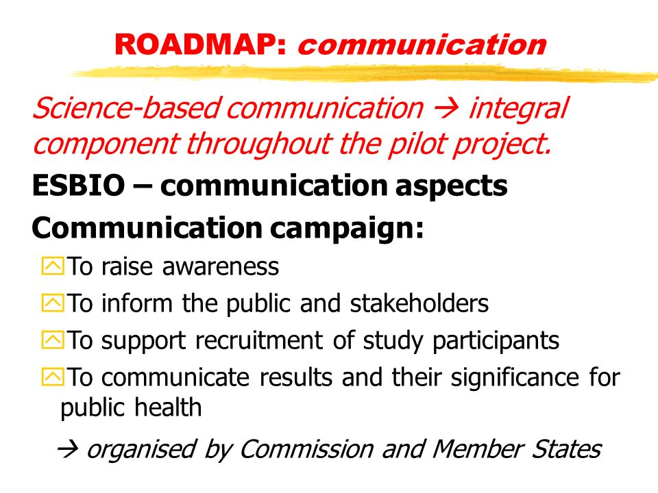 ROADMAP: communication Science-based communication integral component throughout the pilot project.