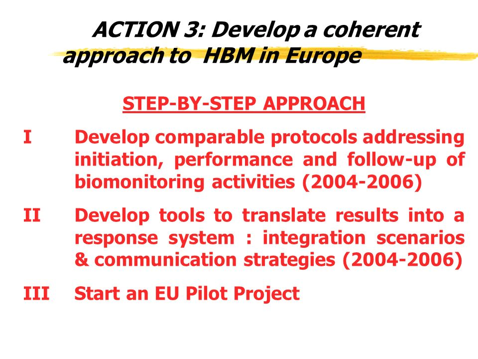 ACTION 3: Develop a coherent approach to HBM in Europe STEP-BY-STEP APPROACH I Develop comparable protocols addressing initiation, performance and follow-up of biomonitoring activities (2004-2006) II Develop tools to translate results into a response system : integration scenarios & communication strategies (2004-2006) III Start an EU Pilot Project