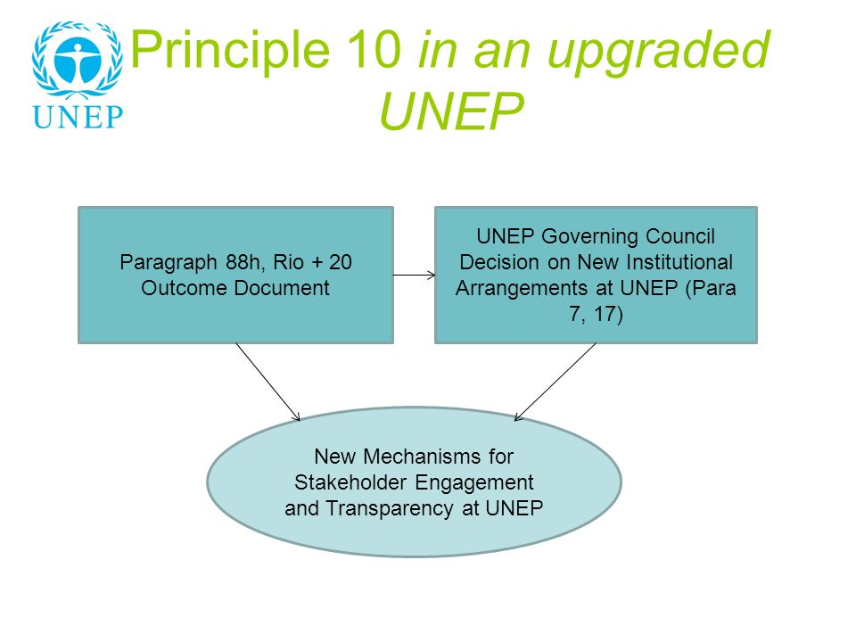 Principle 10 in an upgraded UNEP Paragraph 88h, Rio + 20 Outcome Document UNEP Governing Council Decision on New Institutional Arrangements at UNEP (P