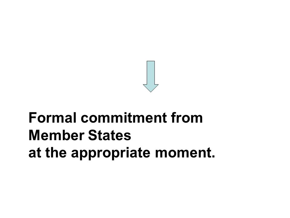 Formal commitment from Member States at the appropriate moment.