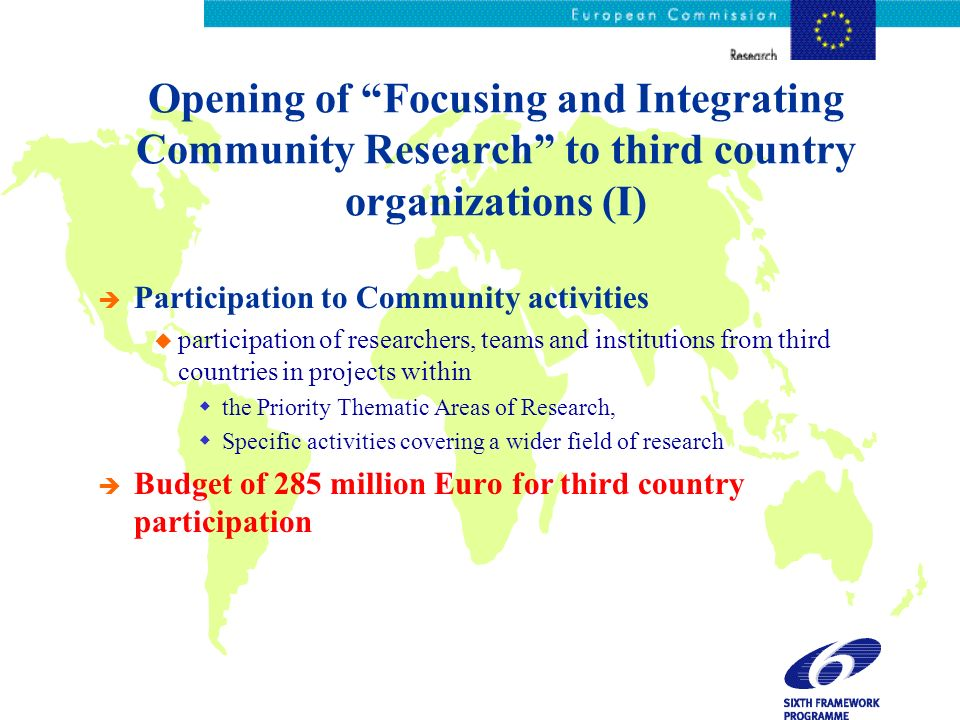 Opening of Focusing and Integrating Community Research to third country organizations (I) è Participation to Community activities u participation of r
