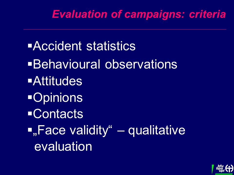 Evaluation of campaigns: criteria Accident statistics Behavioural observations Attitudes Opinions Contacts Face validity – qualitative evaluation