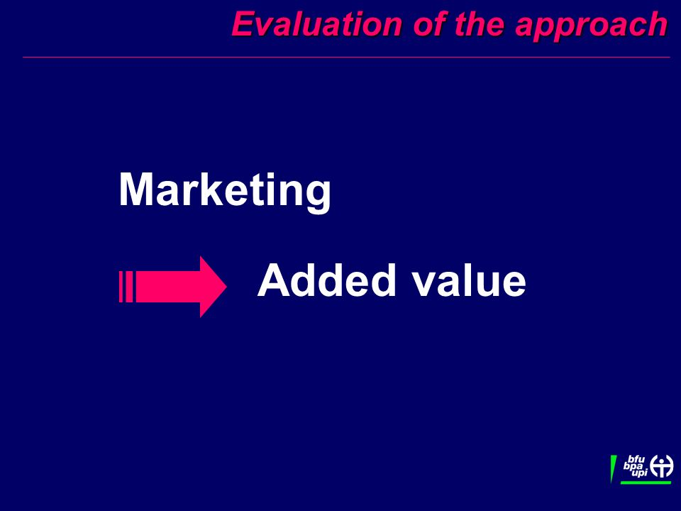 Evaluation of the approach Evaluation of the approach Marketing Added value