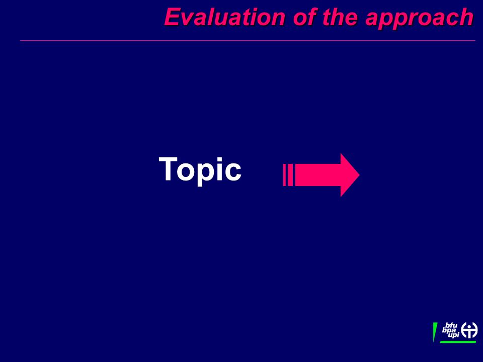 Evaluation of the approach Evaluation of the approach Topic