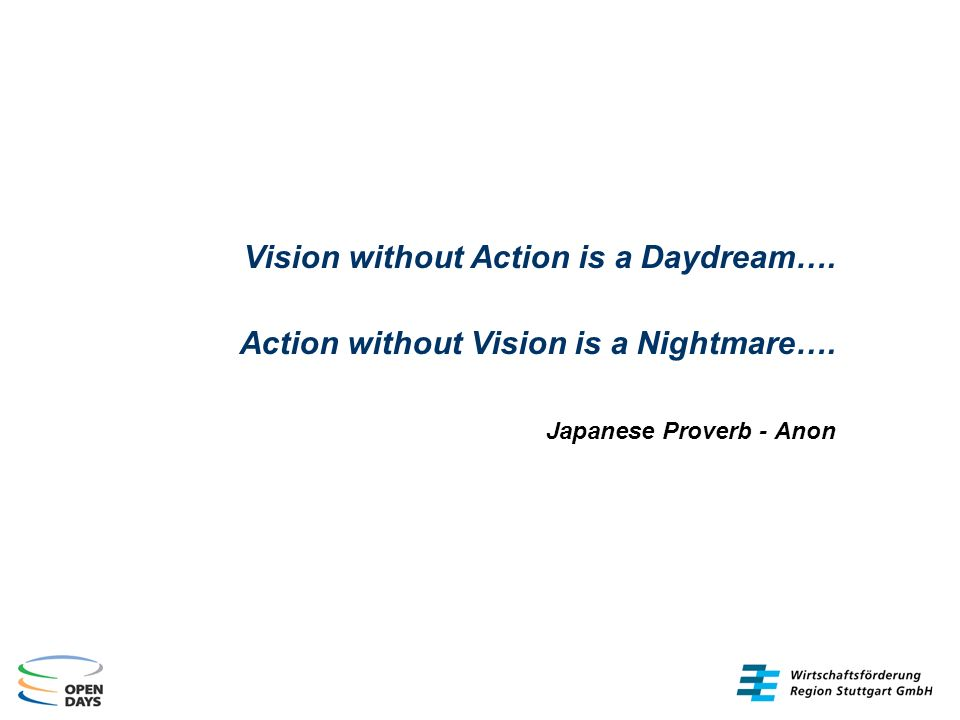 Vision without Action is a Daydream…. Action without Vision is a Nightmare….