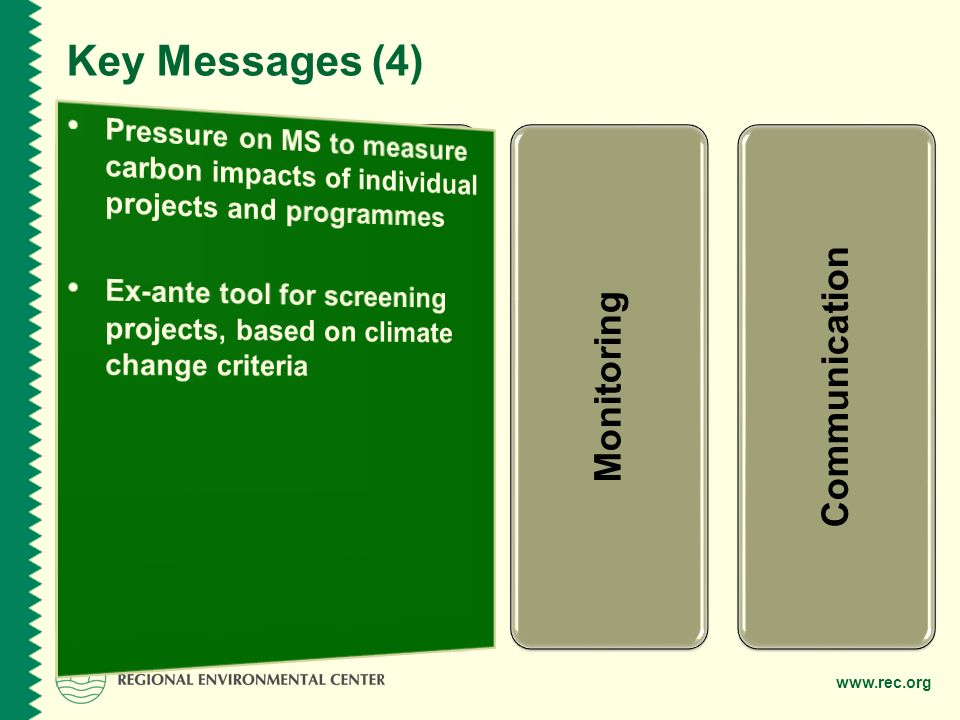 www.rec.org Programming Project Cycle Monitoring Communication Key Messages (4)
