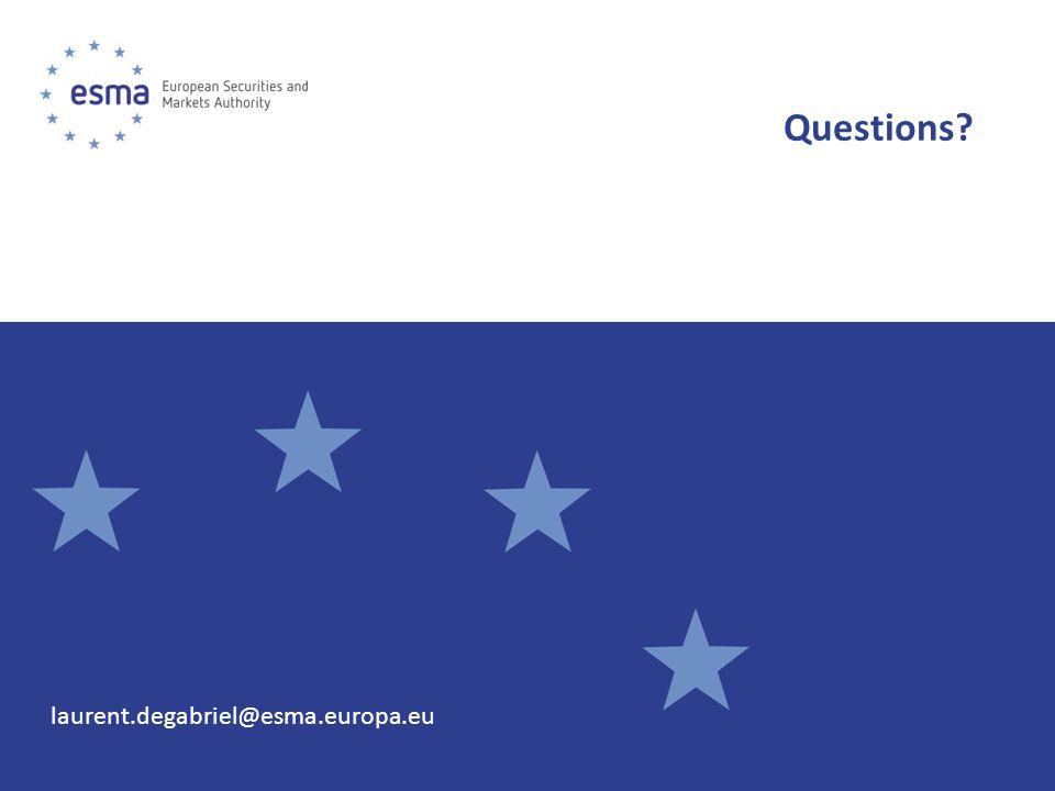 Questions? laurent.degabriel@esma.europa.eu