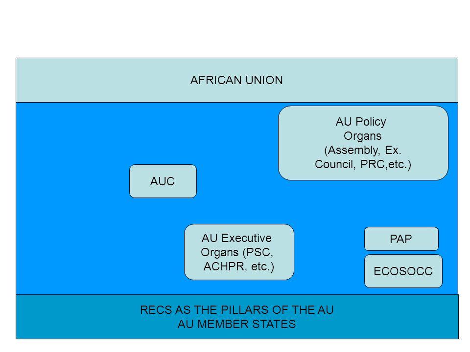 RECS AS THE PILLARS OF THE AU AU MEMBER STATES ECOSOCC AFRICAN UNION AUC PAP AU Policy Organs (Assembly, Ex. Council, PRC,etc.) AU Executive Organs (P