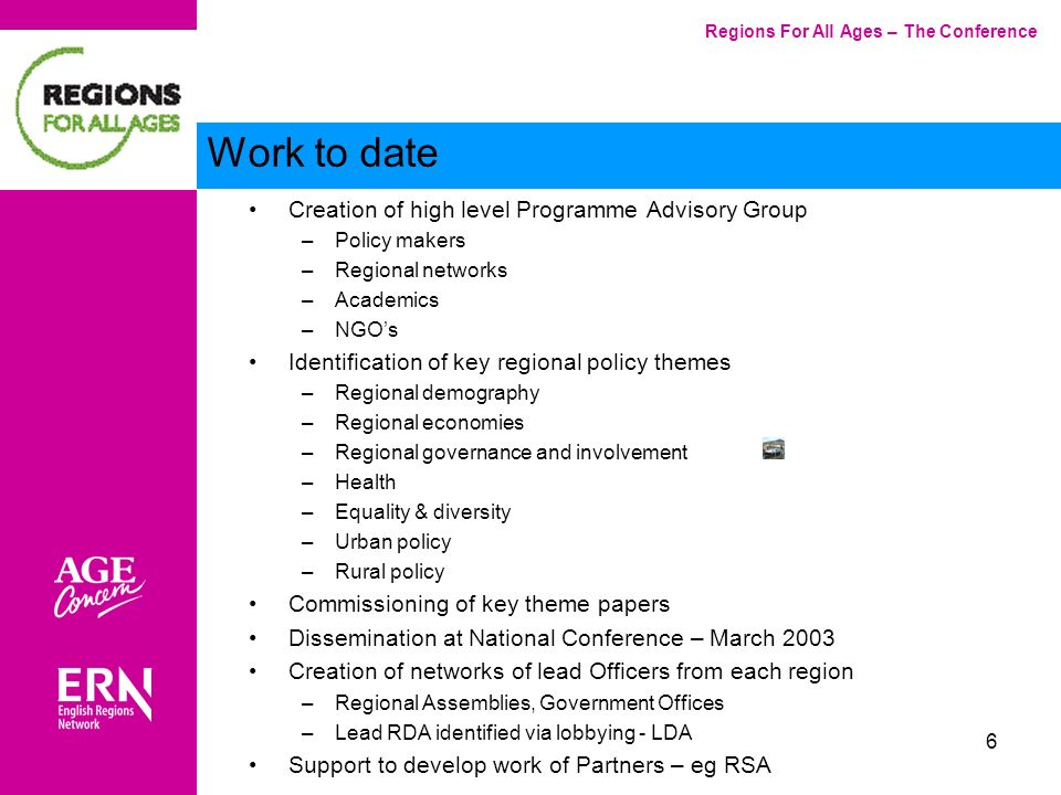 7 Main Heading Levels –Europe –UK –Regional –Sub-regional and local Issues –Economic development –Social regeneration –Regional governance –Housing and infrastructure –Promoting health –Equality and diversity Settings –Rural –Urban Regions For All Ages – The Conference Programme framework