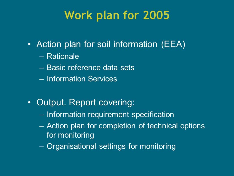 Work plan for 2005 Action plan for soil information (EEA) –Rationale –Basic reference data sets –Information Services Output.