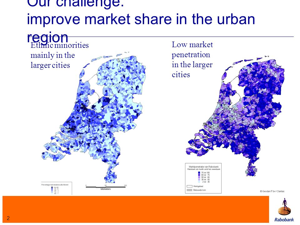 2 Our challenge: improve market share in the urban region Ethnic minorities mainly in the larger cities Low market penetration in the larger cities