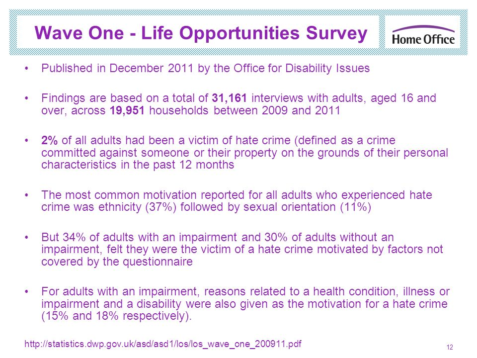 Wave One - Life Opportunities Survey Published in December 2011 by the Office for Disability Issues Findings are based on a total of 31,161 interviews