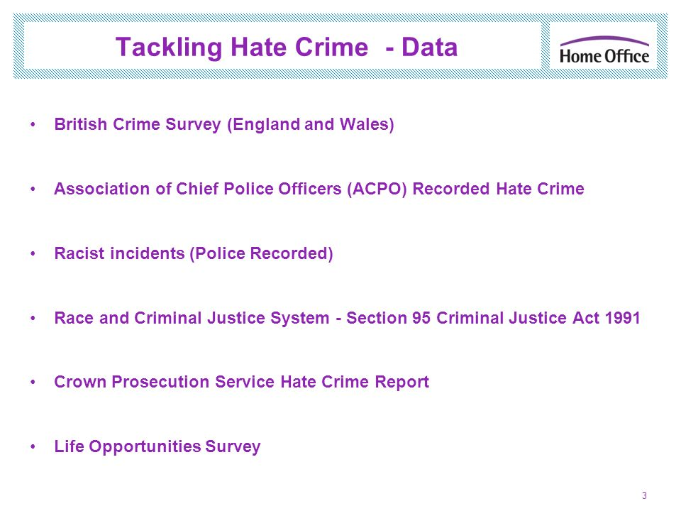 British Crime Survey (BCS) Annual Household Survey - asks people aged 16 and over living in England and Wales about their experiences of crime in the last 12 months.