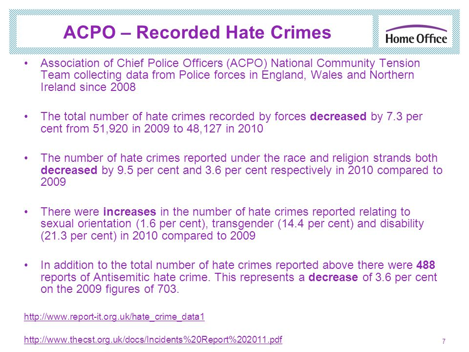 ACPO – Recorded Hate Crimes Association of Chief Police Officers (ACPO) National Community Tension Team collecting data from Police forces in England,