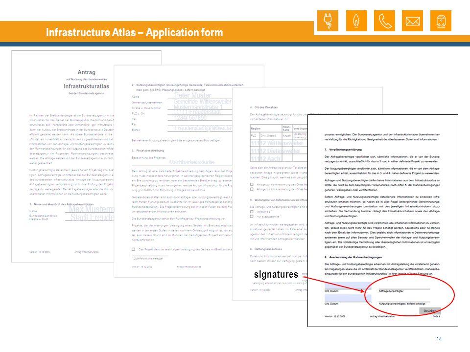 14 Infrastructure Atlas – Application form Freudenstadt@fiktiveDa signatures Max Musterm Stadt Freude Peter Muster Gemeinde Wittlensweiler 11111 Freudenstadt 1234/ 567890 Mustermannstraße 1 Machbarkeitsstudie 11112 Wittlensweiler 11112 Dietersweiler 11112 Aach