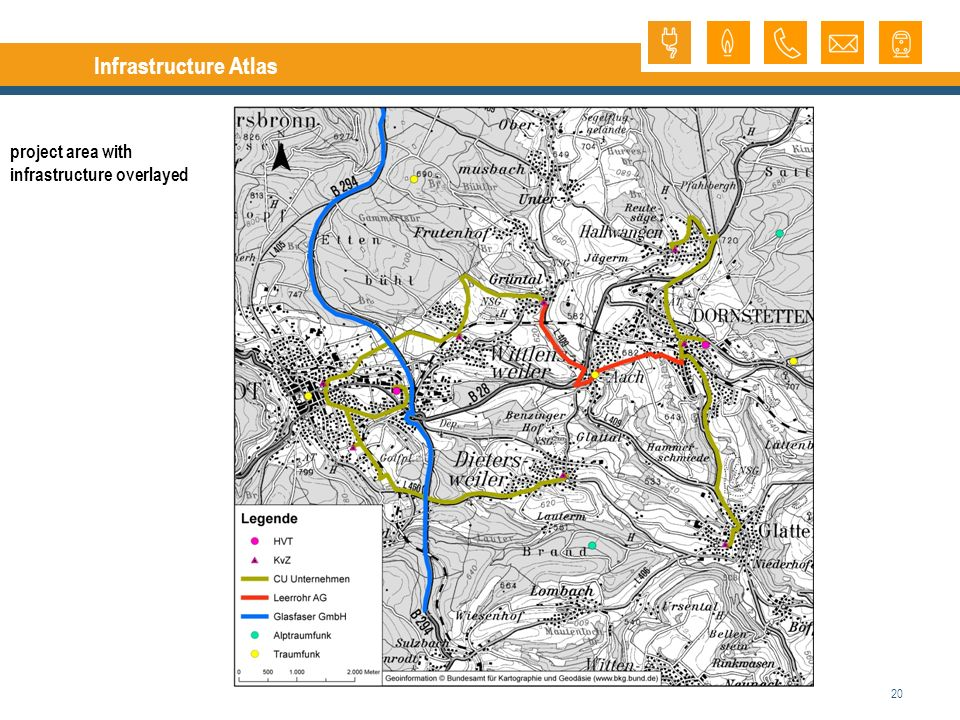 20 Infrastructure Atlas project area with infrastructure overlayed