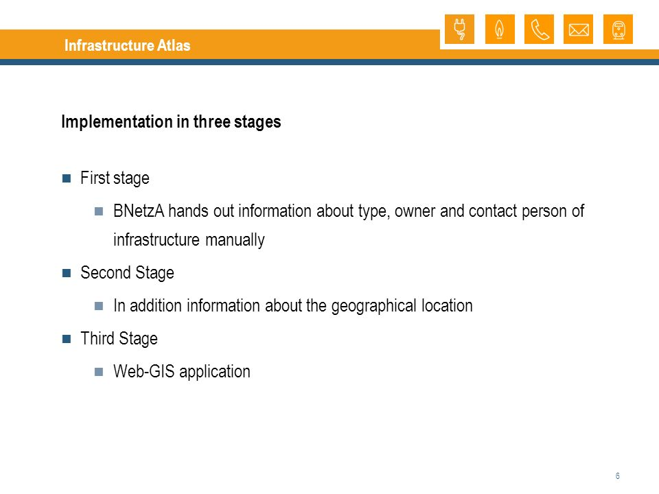 6 Infrastructure Atlas Implementation in three stages First stage BNetzA hands out information about type, owner and contact person of infrastructure manually Second Stage In addition information about the geographical location Third Stage Web-GIS application