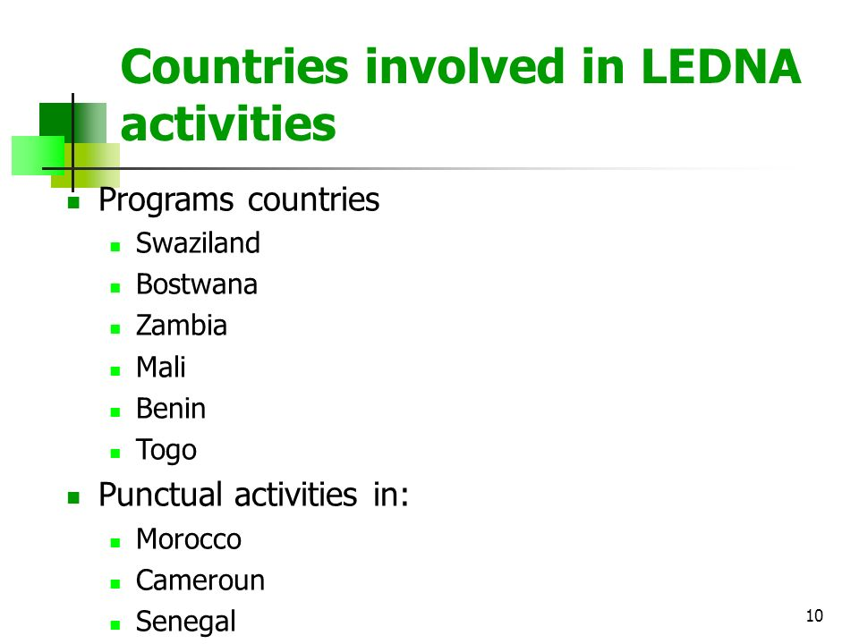 10 Countries involved in LEDNA activities Programs countries Swaziland Bostwana Zambia Mali Benin Togo Punctual activities in: Morocco Cameroun Senegal