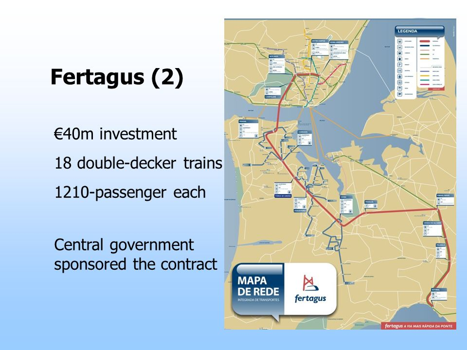 Fertagus (2) 40m investment 18 double-decker trains 1210-passenger each Central government sponsored the contract