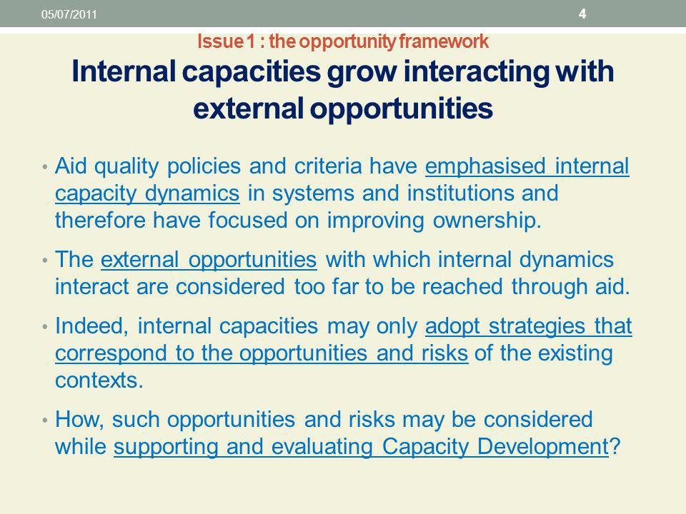 Issue 1 : the opportunity framework Internal capacities grow interacting with external opportunities Aid quality policies and criteria have emphasised internal capacity dynamics in systems and institutions and therefore have focused on improving ownership.