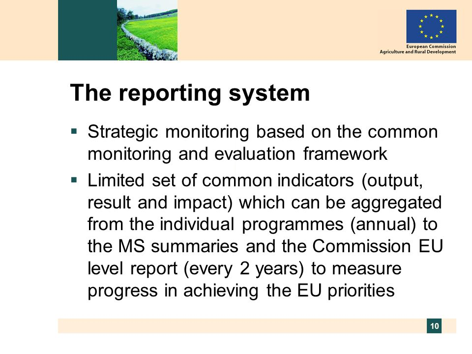 10 The reporting system Strategic monitoring based on the common monitoring and evaluation framework Limited set of common indicators (output, result
