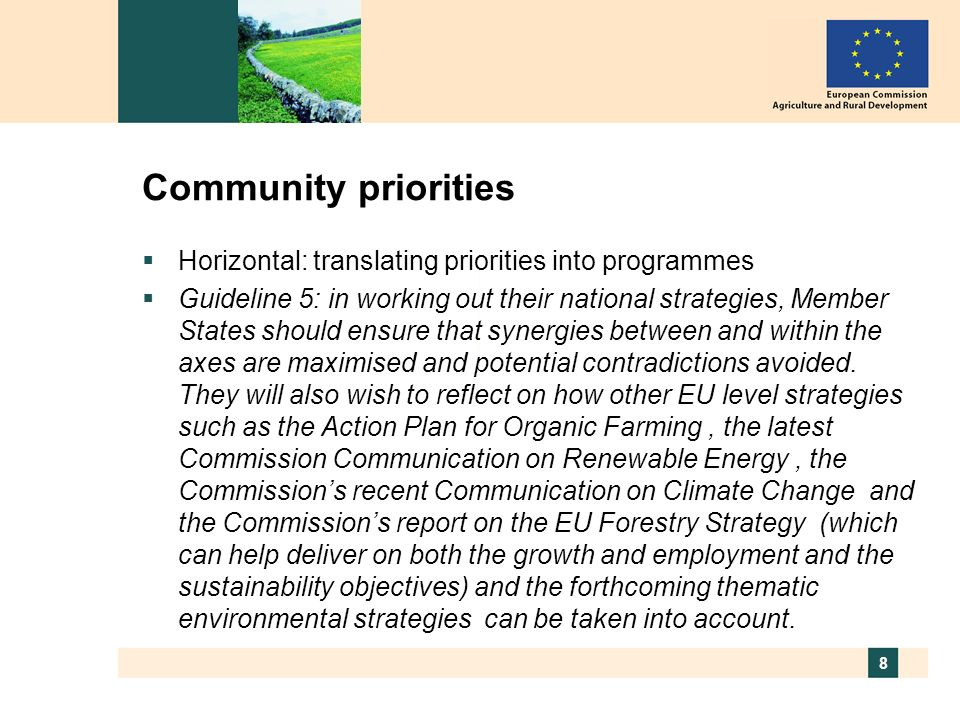8 Community priorities Horizontal: translating priorities into programmes Guideline 5: in working out their national strategies, Member States should