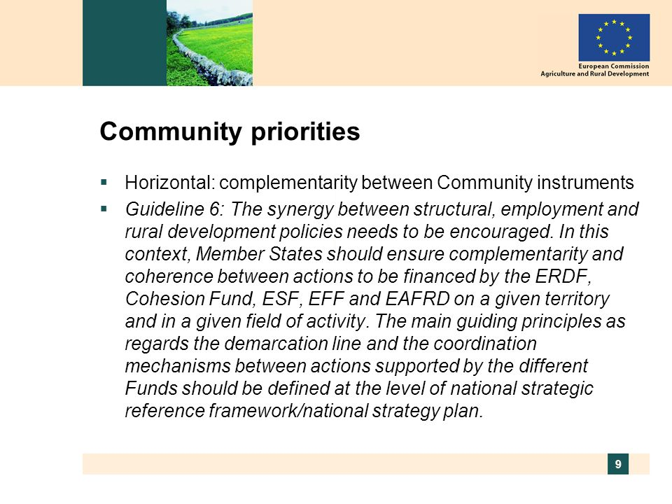 9 Community priorities Horizontal: complementarity between Community instruments Guideline 6: The synergy between structural, employment and rural dev