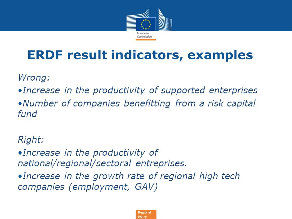 Regional Policy ERDF result indicators What does this mean in practice.