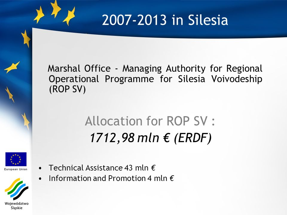 2007-2013 in Silesia Marshal Office - Managing Authority for Regional Operational Programme for Silesia Voivodeship (ROP SV) Allocation for ROP SV : 1