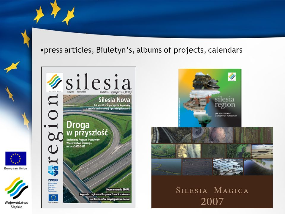 press articles, Biuletyns, albums of projects, calendars