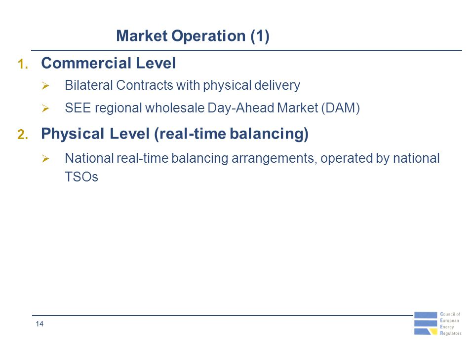 14 Market Operation (1) 1. Commercial Level Bilateral Contracts with physical delivery SEE regional wholesale Day-Ahead Market (DAM) 2. Physical Level