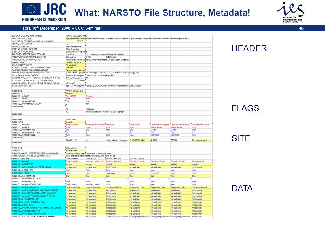 Ispra 18 th December 2008 – CCU Seminar 10 What: NARSTO File Structure, Metadata! HEADER FLAGS SITE DATA