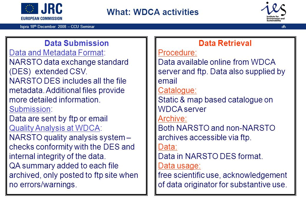 Ispra 18 th December 2008 – CCU Seminar 8 What: WDCA activities Data Submission Data and Metadata Format: NARSTO data exchange standard (DES) extended